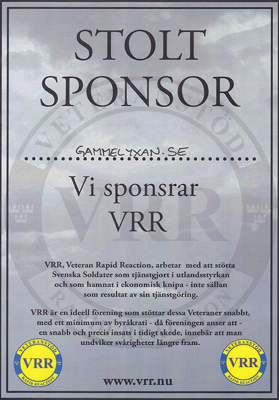 Gammelyxan är stolt sponsor av VRR - Veteranstöd Rapid Reaction
