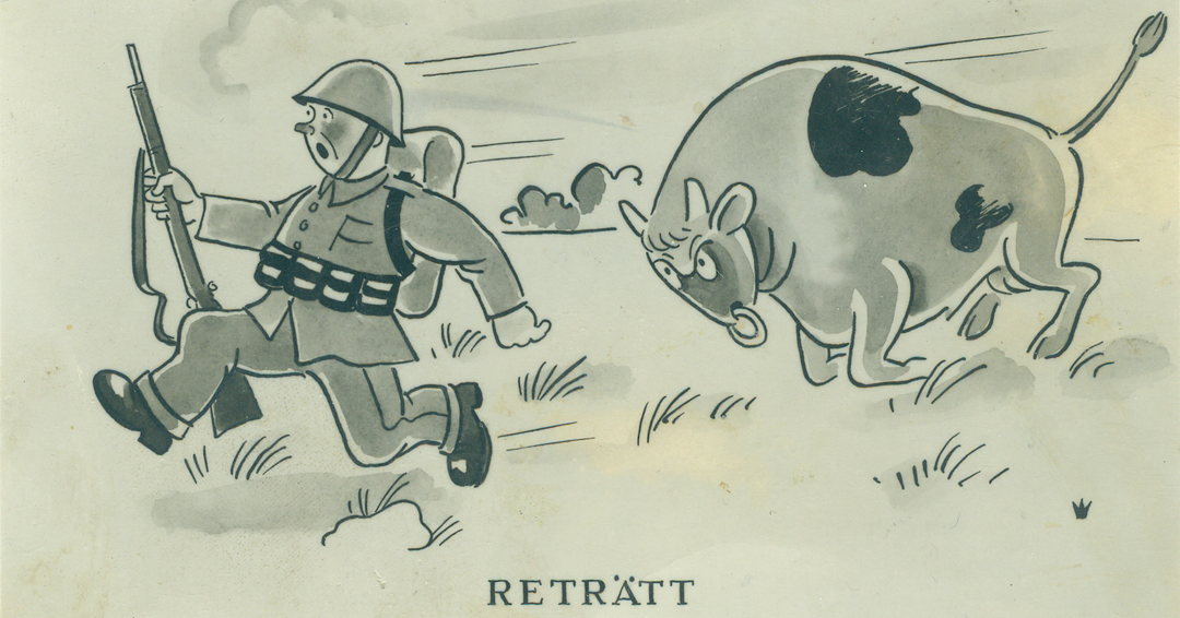 Militär humor om soldat i reträtt.