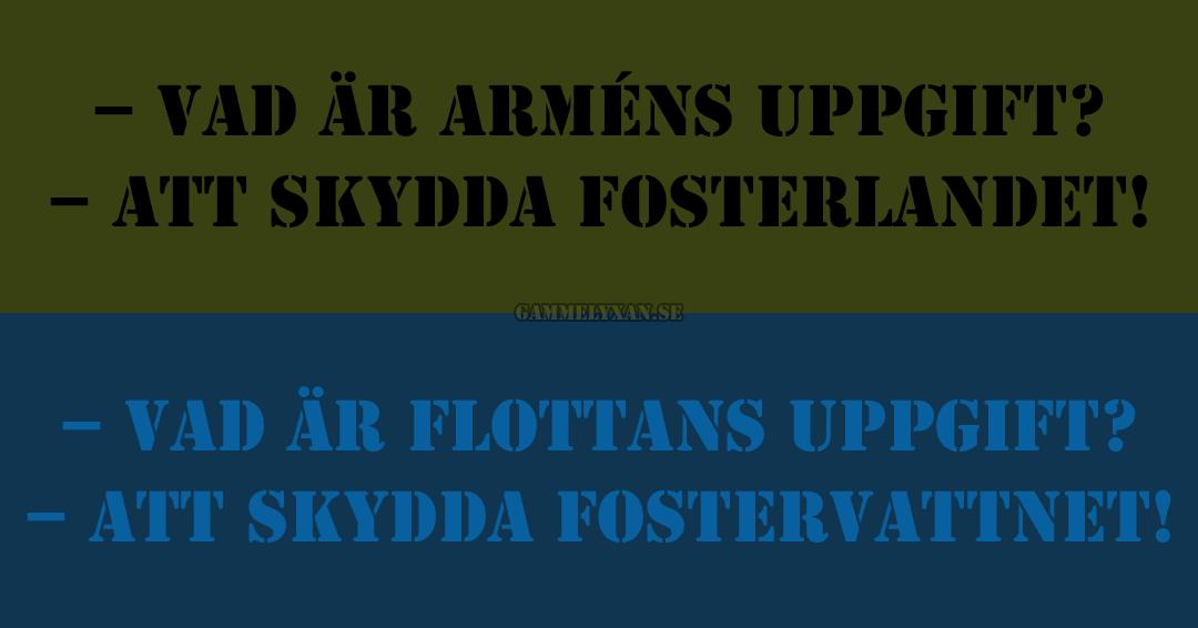 Roligt om arméns uppgift att skydda fosterlandet.