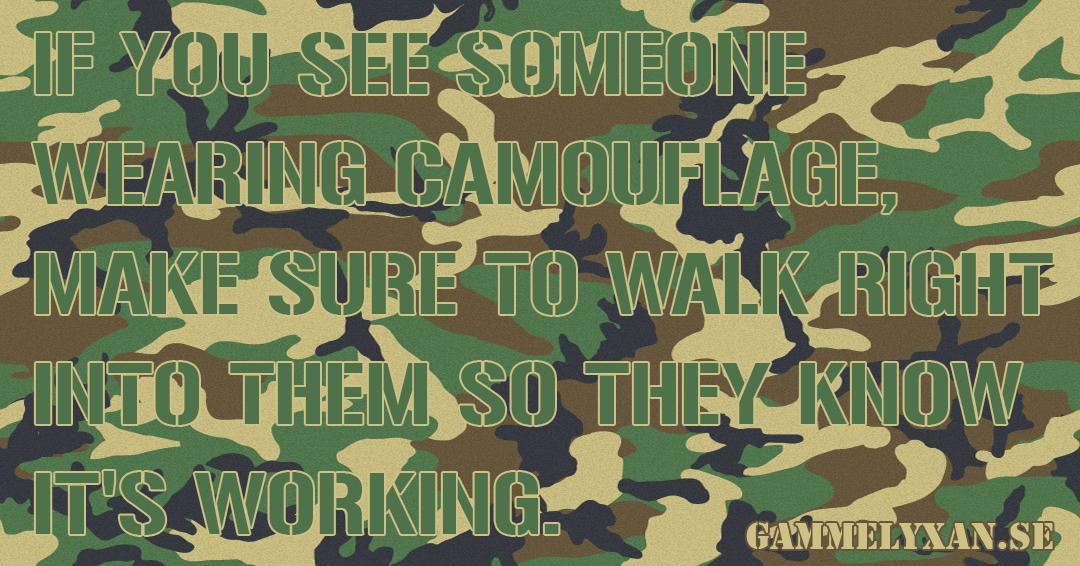 Roligt om militär camouflage.